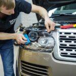 Бронирование плёнкой фары авто