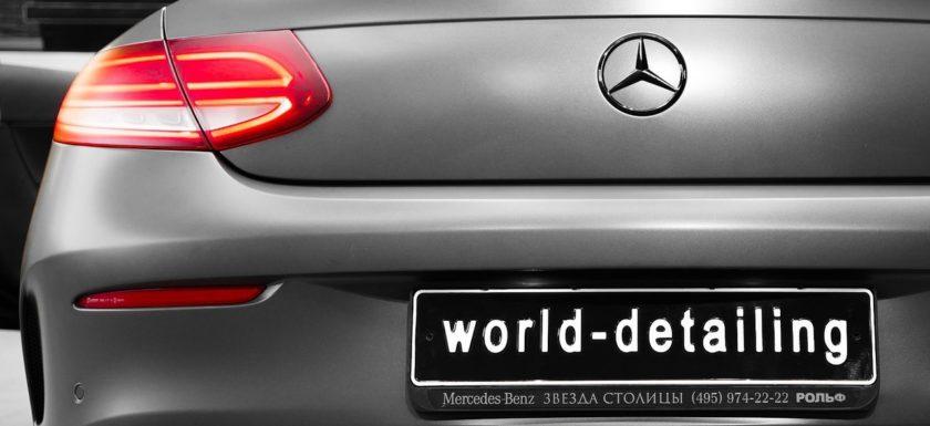 Оклейка кузова автомобиля Mercedes C-class Coupe матовым сатином